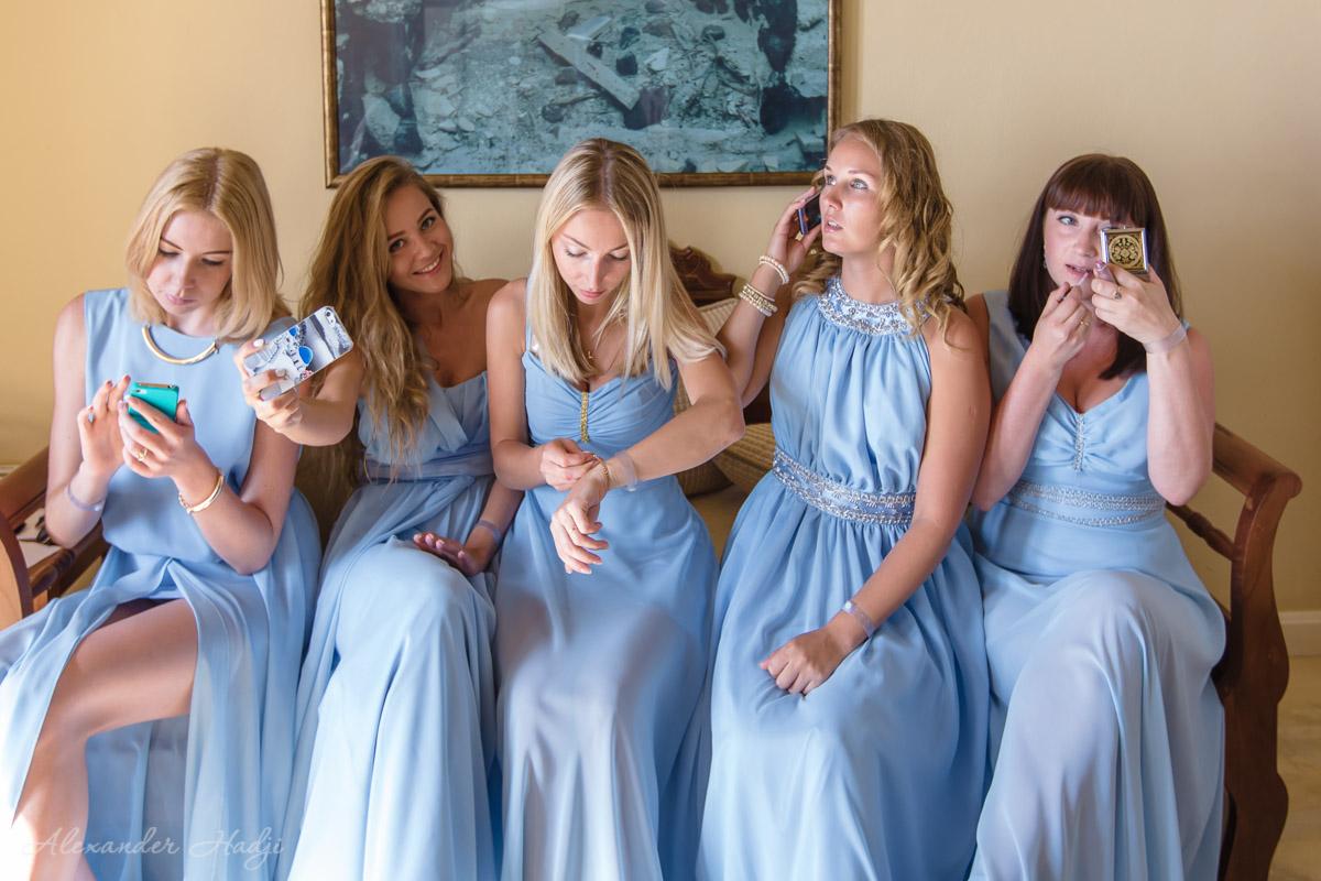 Santorini bridal party