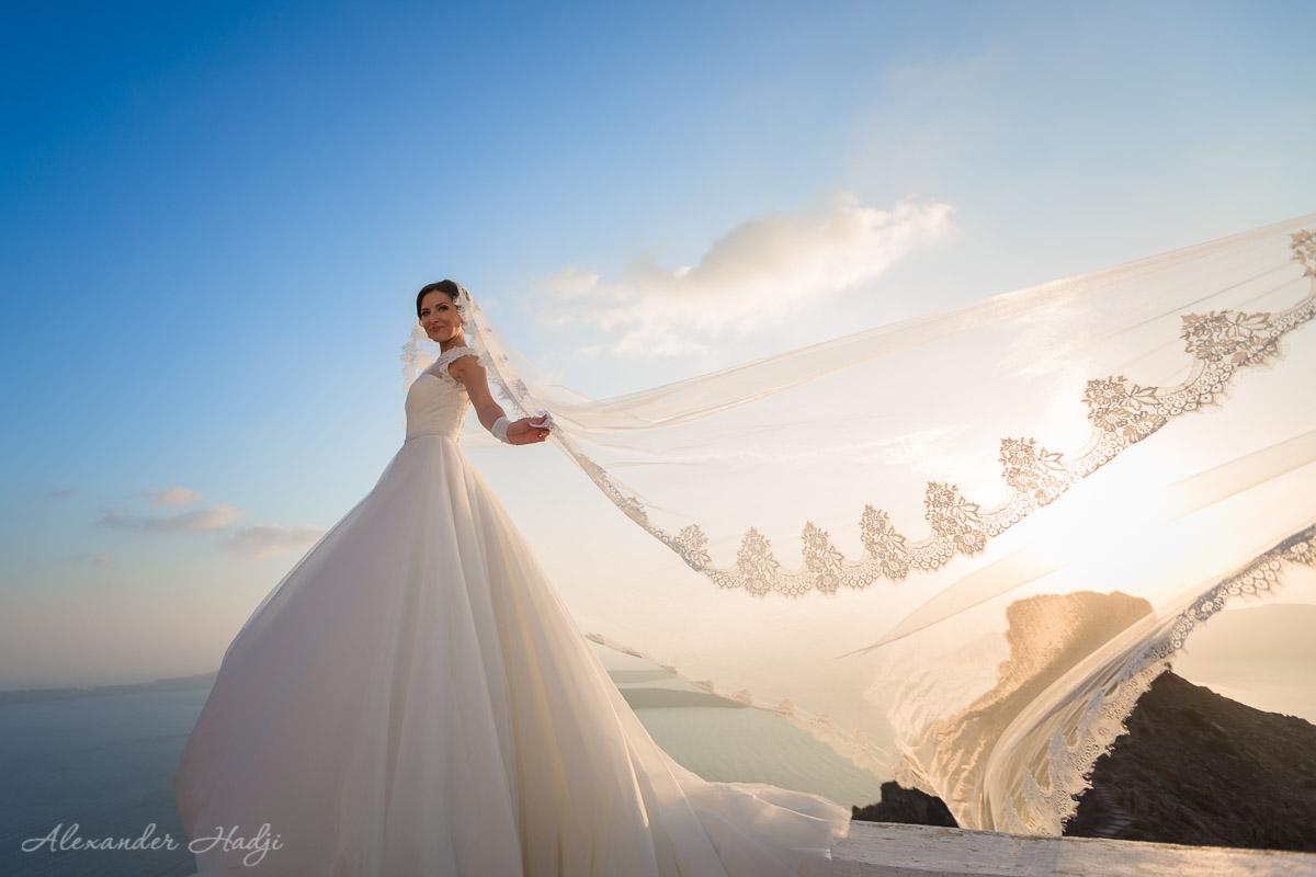 Santorini bridal gown for rent