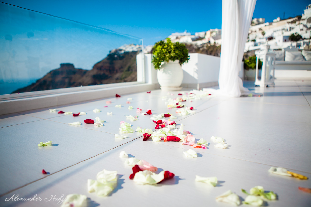 Wedding in Santorini Dana Villas review rose petals