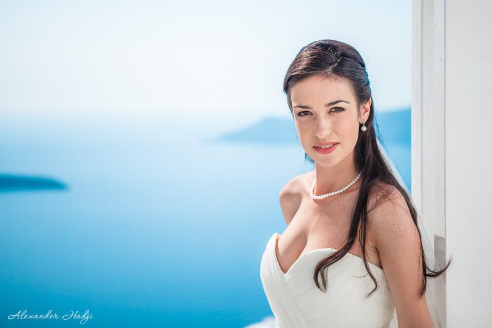 Santorini bride portrait