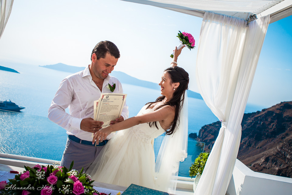 Santorini wedding ceremony photo