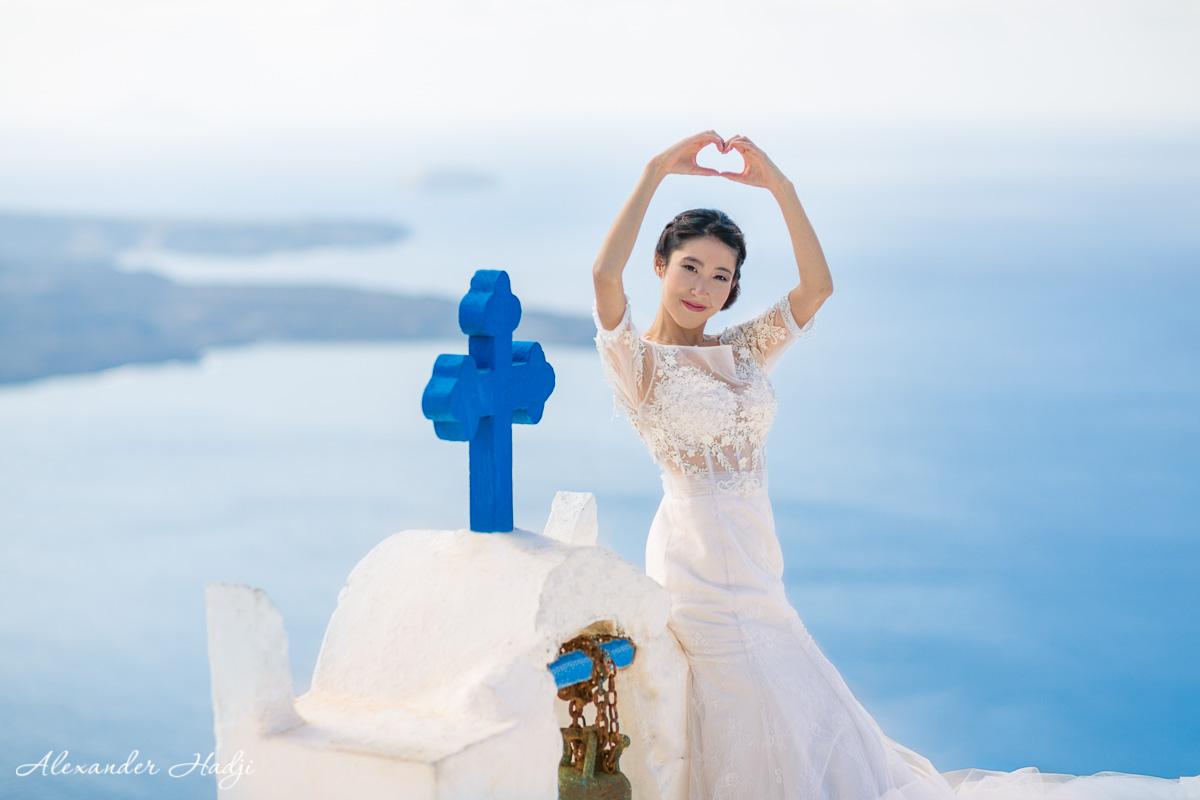 圣托里尼的婚礼拍摄图片