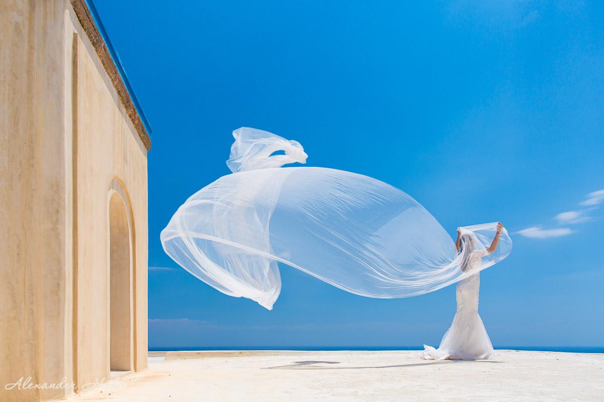 圣托里尼的婚纱照