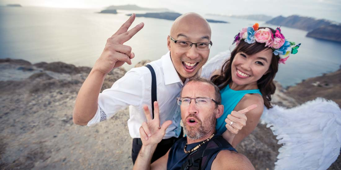 Santorini pre-wedding photo selfie