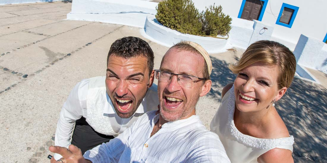 Santorini wedding photography selfie