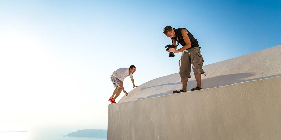 Santorini photography backstage